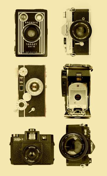 Vintage Camera Collage Art Print