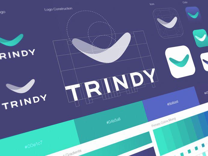Trindy app icon logo grid brand guide