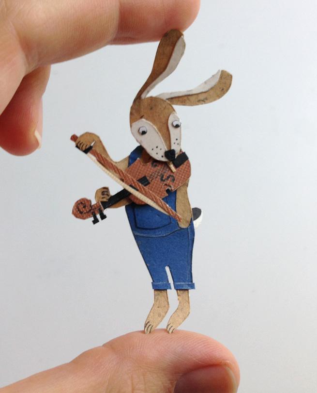 #paper #papercut #rabbit #violin #musician