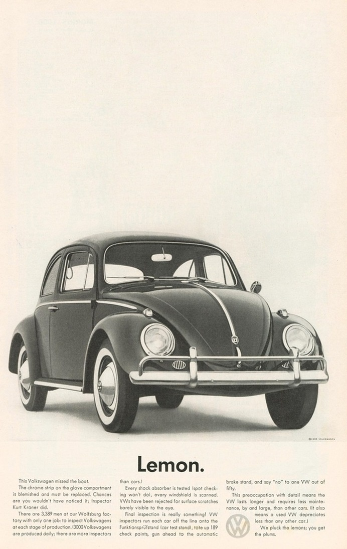 Lemon. Advertising classic for VW by DDB #classic #advertising #ad