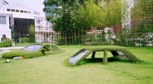Cars Swallowed by Grass at CMP Block in Taiwan #sculpture #grass #cars #art #overgrown