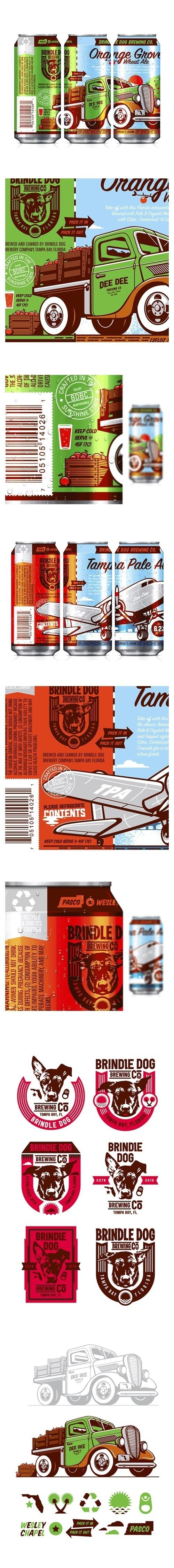 Brindle Dog Brewing Co. #beer #packaging #florida #illustration #cans