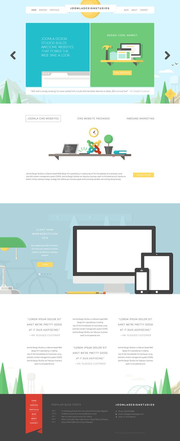 Flat website illustration all #color