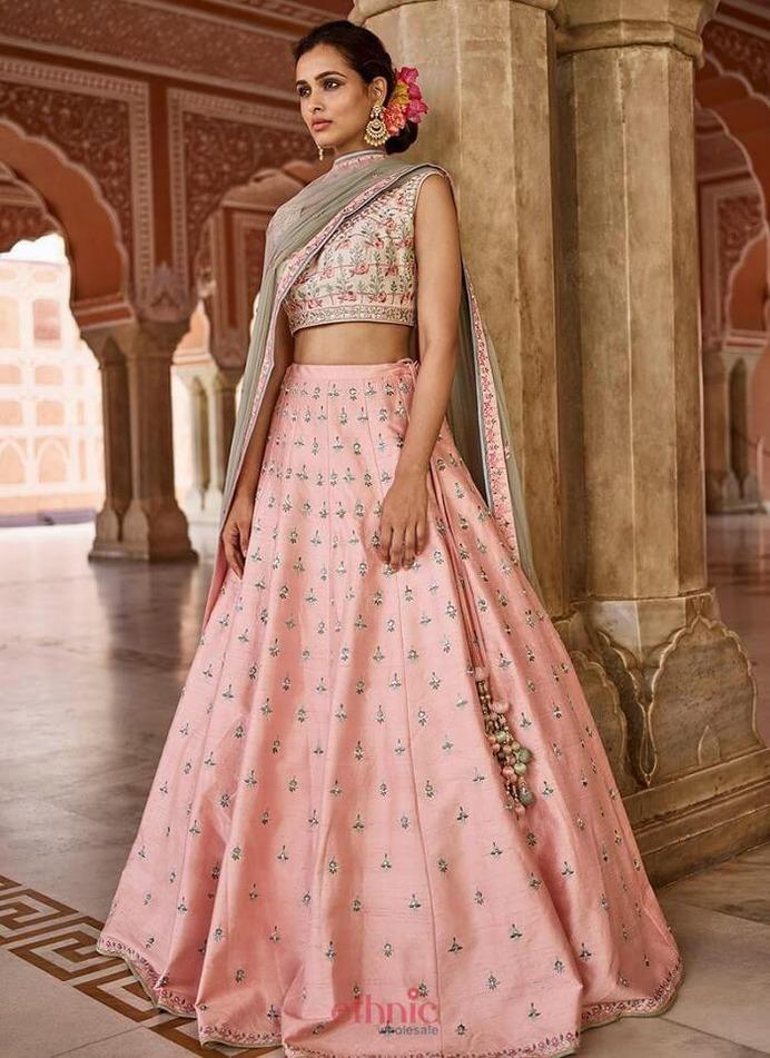 lighter shade pink bridal lehenga