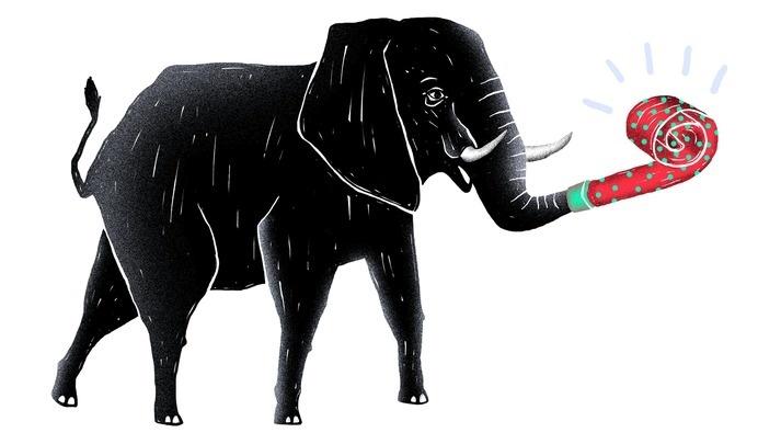 elephant, party animal, illustration