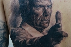 clint eastwood by den yakovlev in tattoo. Black Bedroom Furniture Sets. Home Design Ideas