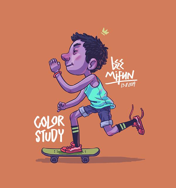 Skateboy on Behance #boy #illustration #sneakers #play #study #skateboard #fun #colour