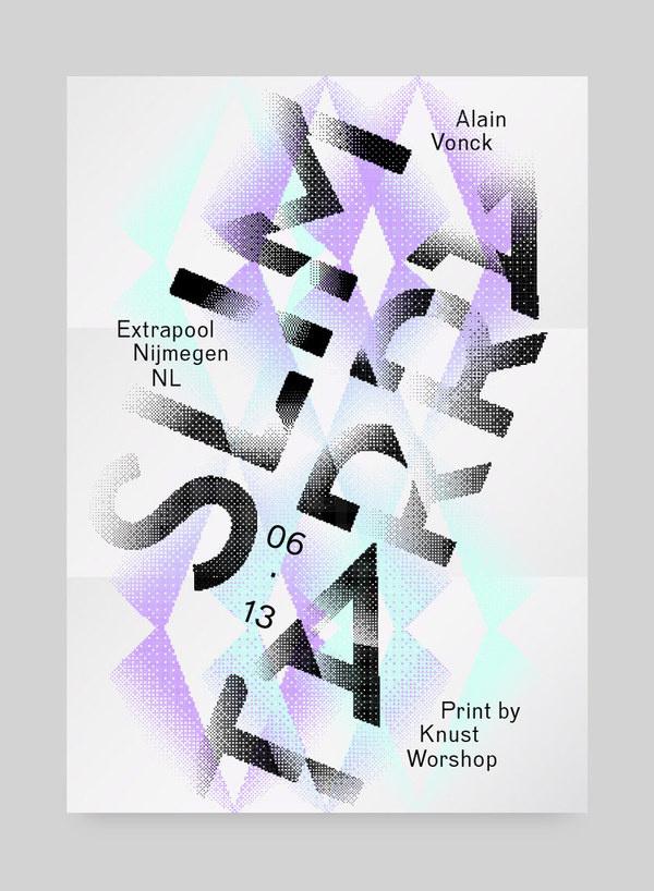 Slimtarra, Alain Vonck #cyan #violet #gradient #poster #typography